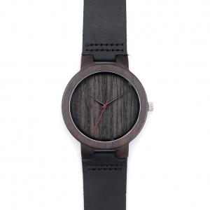 China Black color wood real leather band wristwatch for casual men on sale