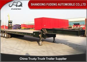 China 100 Ton Heavy Equipment Lowboy Trailer , BPW Axle Lowboy Flatbed Trailer on sale