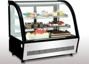 China Small Curved Glass Refrigerated Bakery Display Case Countertop Mirrors / Steel Base supplier
