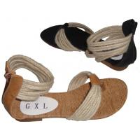 2012 Europe Style Fashion Comfortable Quality Beige / Black PU Ladies Flat Thong Sandals