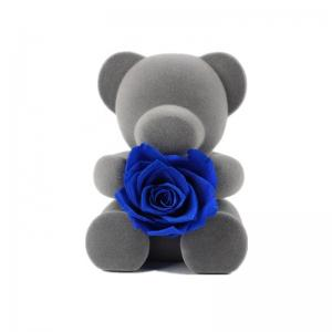 China Blue Artificial Preserved Rose Teddy Bear With Rich Romantic Look on sale