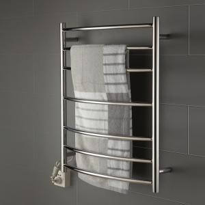 China 7 bars round arc type stainless steel wall mounted pratical safety heated towel rack on sale
