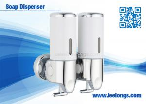 China ABS / Stainless Steel Chromed Double Tank Manual Liquid Bathroom Soap Dispenser on sale
