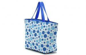 China Blue Spotted Handle insulation Portable Cooler Bag with Flat Bottomed on sale