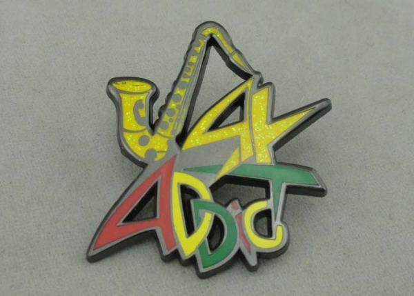 ADDC Soft Enamel Pin Zinc alloy And Glitter Black Nickel Plating 1 5