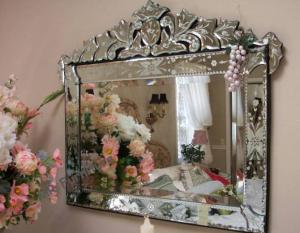 China Hanging Large Venetian Wall Mirror Etching Flowers Bridal Wedding Design on sale