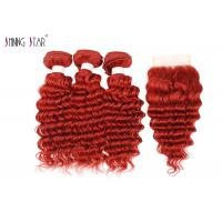 Deep Wave Human Hair Bundles With Closure 99J Curly Weave Red Color