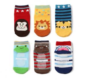China Colorful Non Slip Neworn Baby Socks / Cotton Grip Non Slip Socks For Children on sale