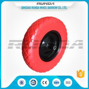 China 90mm Hub Length PU Foam Wheel 16inch No Air 20mm Bore Hole Carbon Steel Bearing on sale