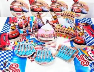Quality Cartoon Red Car Disposable Tableware Sets Childrens Birthday Party Decorations For Sale
