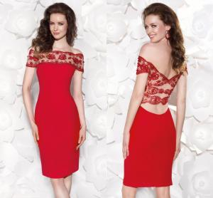 China Red Off Shoulder Evening Dresses on sale