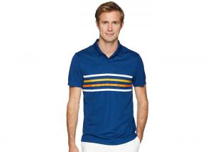 China Polyester Men's Polo Shirts Design Bicolor Contrast Bands Knit Cuffs on sale