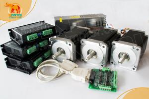 Quality Wantai 3 Axis Nema 34 Stepper Motor 85BYGH450C-012 1600oz-in+Driver DQ860MA for sale