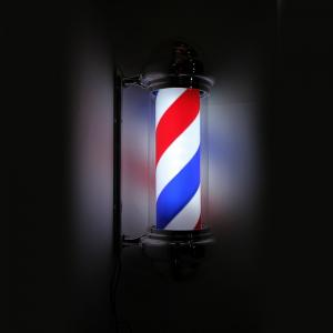 China Red White Blue Stripes LED Barber Pole Rotating Arcrylic Cylinder Outdoor Use on sale