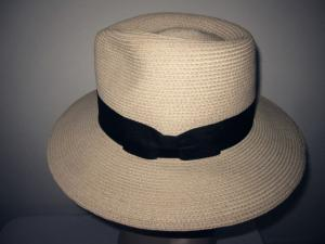China Traditional Mens Straw Fedora Hat For Horse Race , Flat Brim 8.5cm Elastic Sweatband on sale