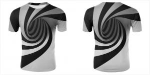 China 2019 3D V neck Men Women Custom Sublimated t shirts  Print Black White Hypnotic Funny Short Sleeve on sale