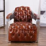 Aluminum Arm Vintage Brown Leather Armchairs For Living Room Hotel