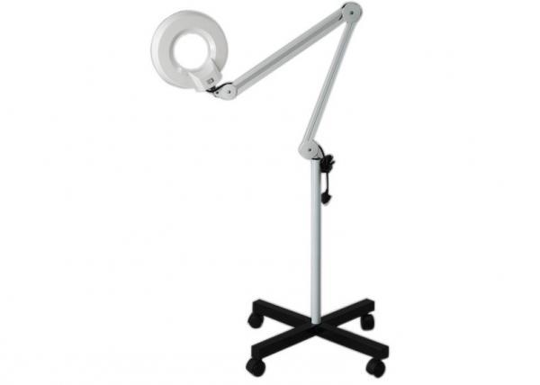 floor standing magnifier lamp metal plastics floor lighted