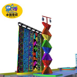 China Outdoor Park Kids Rock Climbing Wall Plastic Fiberglas Wood Material Anti - UV on sale