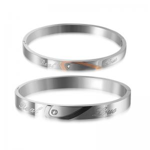 China Stainless steel engraved couple bracelets mens women cuff bangle on sale