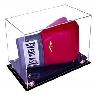 Boxing Glove Display Case HORIZONTAL with two-tier black acrylic base