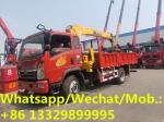 customized best price SINO TRUK HOMAN 4*2 LHD 6.3tons telescopic crane mounted on truck for sale, truck with crane