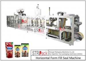China PLC Control Stand Up Pouch Filling And Sealing Machine For ketchup / Sauce 120BPM on sale