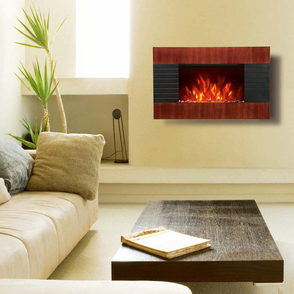 Wall Mounted Electric Fireplace Heater Wooden Base flame EF423S ...