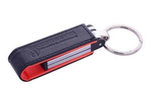 China promotion gift embossed logo leather usb flash drive with key ring, keychain usb memory stick on sale
