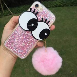 China TPU DIY Big Eyes Seto Rabbit Hairball Strap Glitter Sparkle Back Cover Cell Phone Case For iPhone 7 6s Plus on sale