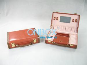 China Travel Cosmetic Packaging Boxes Leather Makeup Case With Mirror on sale