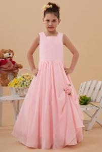 China Chic Square Satin Chiffon Pink Unique Flower Girl Dresses Wedding Gown on sale