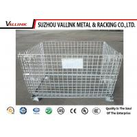Foldable Galvanized Steel Wire Mesh Container For Supermarket , Store