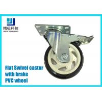 3-5 inch PVC / ESD Flat Free Swivel Caster Wheels Plate - mount With Brake Assembly