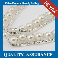 China Crystal and pearl trim, china manufacturer pearl chain trim, crystal rhinestone pearl trimmings on sale