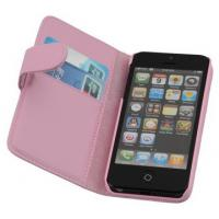 Microfiber Classical Red PU Leather Iphone Case With Card Slot For Girls