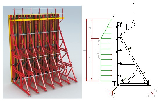 Shuttering Details For Wall : H timber beam formwork with single side bracket for