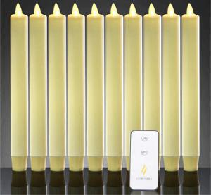 China Dancing Flame Window Windproof Smokeless Ivory Wax Wedding Flameless Timer Taper Candle Set on sale