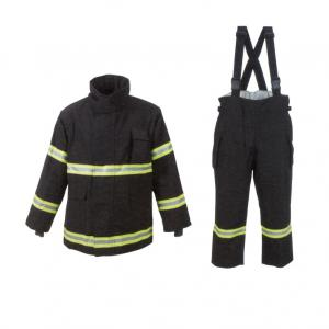 China Black Flame Resistant Suit With 3m Reflective Stripe Aramid Thread Thread on sale
