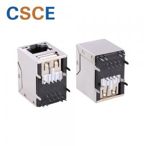 China Shielded 8 Pin USB To RJ45 Connector , Gigabit Modular Jack RJ45 To USB Converter on sale