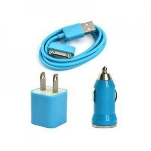 China USB AC Wall Charger and Car Charger+Data Cable for Apple iPod Touch or iPhone4 4S 4G Blue on sale