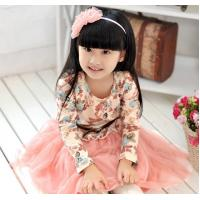 China Cotton Childrens Clothes , Long Sleeves Children Dress With Print And Lace on sale