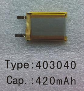 China Hicon Type403040 Voltage 3.7v  Capacity 420mAh  Lithium ion battery rechargeable battery on sale