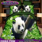 O poliéster 100% do projeto da panda 3D imprimiu grupo ajustado da tampa da edredão do fundamento