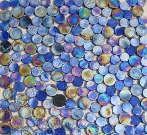 China Blue Mix Penny Round Iridescent Glass Mosaic Tile on sale