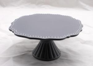 China 11 Inch Diameter Gray Ceramic Cake Plate , Dolomite Handmade Round Cake Stand Cake Tool on sale