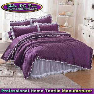 China Bedding Sets Quilt Cover Bed Skirt Quilting Purple Bedding Sets on sale
