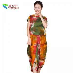 China OEM ODM Womens Linen Suits Clothing , Custom Printed Chinese Style Blouse on sale