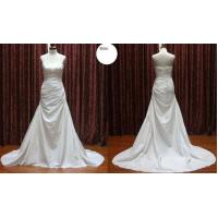 China High Neck A - Line Pleat Strapless Taffeta Bridal Gown Wedding Dress Silhouettes on sale
