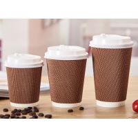 China Corrugated Insulated Paper Coffee Cups , 16 Oz Coffee Cups Disposable Three Layers on sale